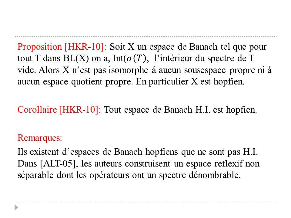 Proposition [HKR-10]: Soit X un espace de Banach tel que pour tout T dans BL(X) on a, Int(𝜎 𝑇 , l'intérieur du spectre de T vide.
